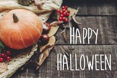 Счастливый знак текста хеллоуина, поздравительная открытка положение квартиры изображения падения B Стоковое Изображение
