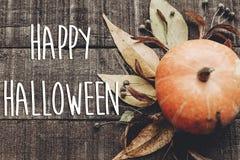 Счастливый знак текста хеллоуина, поздравительная открытка положение квартиры изображения падения B Стоковые Фотографии RF