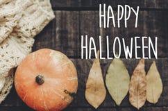 Счастливый знак текста хеллоуина, поздравительная открытка положение квартиры изображения падения B Стоковое Фото