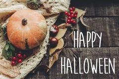 Счастливый знак текста хеллоуина, поздравительная открытка положение квартиры изображения падения B Стоковые Изображения RF