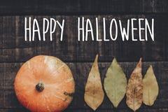Счастливый знак текста хеллоуина, поздравительная открытка положение квартиры изображения падения B Стоковое Изображение RF