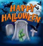 Счастливый знак шаржа зомби изверга хеллоуина иллюстрация вектора