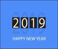Счастливый значок 2019 Нового Года на оранжевой предпосылке Плоский стиль Счастливый иллюстрация вектора
