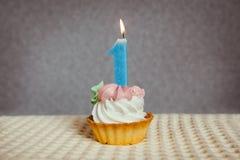Счастливый 1 именниный пирог и голубой одна свеча Стоковая Фотография RF