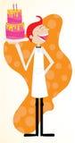 Счастливый кельнер служя торт Стоковые Фото