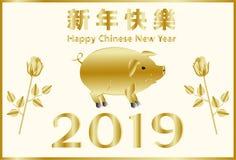 Счастливый китайский Новый Год, год свиньи Китайские характеры значат поздравления на счастливом Новом Годе Соответствующий для п иллюстрация штока
