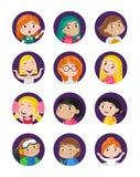 Счастливый комплект значка воплощения маленьких девочек иллюстрация вектора