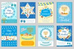 Счастливый комплект поздравительных открыток, рогулька Хануки, плакат Собрание Хануки шаблонов для вашего дизайна приглашения с Стоковое Изображение RF