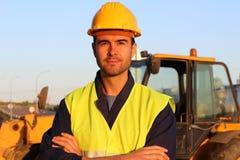 Счастливый конец рабочий-строителя вверх Стоковая Фотография RF