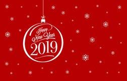 Счастливый красный цвет карточки Нового Года также вектор иллюстрации притяжки corel бесплатная иллюстрация