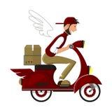 Счастливый курьер на красном скутере поставляет пакет к адресу иллюстрация вектора