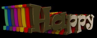 Счастливый к тексту 3d Стоковые Фото