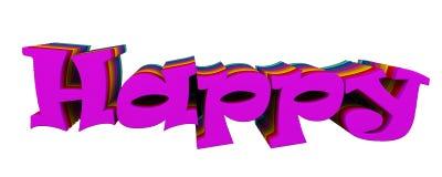 Счастливый к тексту 3d Стоковое фото RF