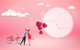 Счастливый любовник пар целуя с сердцем и предпосылкой луны, weddi иллюстрация штока