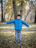 Счастливый мальчик бросает листья в парке осени стоковые изображения rf