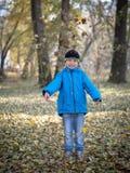Счастливый мальчик бросает листья в парке осени стоковые фото
