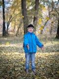 Счастливый мальчик бросает листья в парке осени стоковые изображения