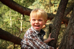 Счастливый мальчик взбираясь в вале Стоковое Изображение