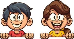 Счастливый мальчик и девушка мультфильма peeking вне иллюстрация штока