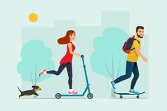 Счастливый молодой человек ехать скейтборд, езды молодой женщины на скутере и собака иллюстрация вектора