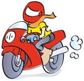 Счастливый мотоциклист в гонке иллюстрация штока