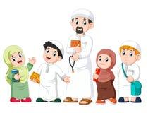 Счастливый мусульманский показ ребенк с Кораном удерживания святым иллюстрация вектора