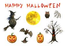 Счастливый набор хеллоуина иллюстрация штока