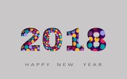 Счастливый Новый Год, абстрактный дизайн 3d, 2018 vector иллюстрация Стоковое фото RF