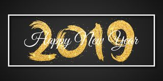 Счастливый Новый Год 2019 белая рамка Золотая щетка grunge с золотыми яркими блесками Знамя сети для вашего дизайна рекламы Illus стоковое изображение rf