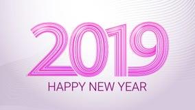 Счастливый Новый Год 2019 вектор знамени цветастый Пурпурная литерность на белой предпосылке иллюстрация вектора