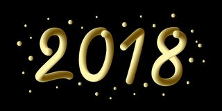 Счастливый новый 2018 год градиент 3d 2018 номеров и охлаждает волну с частицами и снежинками Праздничный элемент на праздник Стоковая Фотография
