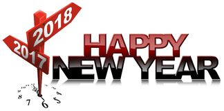 Счастливый Новый Год 2017 2018 до 2 дорожных знаков Стоковая Фотография RF