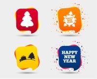 счастливый новый год знака красивейший вектор валов иллюстрации рождества Стоковые Изображения