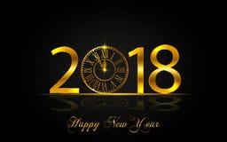 Счастливый Новый Год 2017 Иллюстрация вектора с часами золота Стоковые Фотографии RF