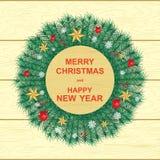 Счастливый Новый Год и веселое рождество, иллюстрация вектора, венок рождества, звезды, красные ягоды для украшения бесплатная иллюстрация