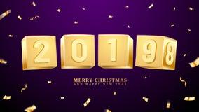 2019 счастливый Новый Год и с Рождеством Христовым или x-mas иллюстрация вектора