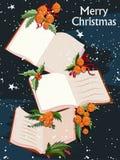 Счастливый Новый Год и с Рождеством Христовым предпосылка приветствию иллюстрация вектора