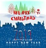 Счастливый Новый Год 2019 и с Рождеством Христовым иллюстрация штока
