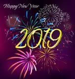 Счастливый Новый Год 2019 и с Рождеством Христовым иллюстрация вектора