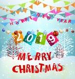 Счастливый Новый Год 2019 и с Рождеством Христовым бесплатная иллюстрация