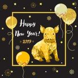 Счастливый Новый Год 2019, китайский Новый Год, дизайн gritting карта со свиньей стоковые изображения rf