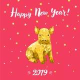 Счастливый Новый Год 2019, китайский Новый Год, дизайн gritting карта со свиньей стоковое изображение