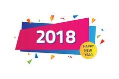 Счастливый Новый Год 2018 красочный с геометрической концепцией Иллюстрация вектора
