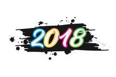 Счастливый Новый Год 2018 красочный с концепцией щетки Стоковые Фотографии RF