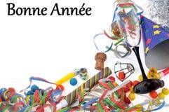 Счастливый Новый Год написанный во французском с подарками в память о вечере бесплатная иллюстрация