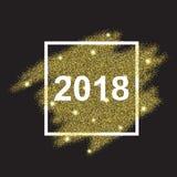 Счастливый Новый Год 2018 на предпосылке яркого блеска золота Стоковое Изображение RF