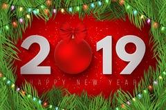 Счастливый Новый Год 2019 Праздничная крышка для вашего дизайна Снежинки на светлой красной предпосылке рождество моя версия вект иллюстрация штока