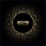 Счастливый Новый Год 2019 Света диско золота яркие Рамка круга полутонового изображения Счастливая предпосылка карточки Новый Год иллюстрация штока