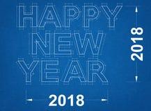 Счастливый Новый Год 2018 - светокопия Стоковое Изображение