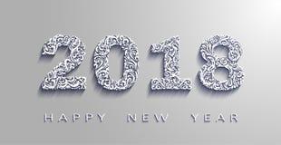 Счастливый Новый Год 2018, год собаки Белая бумага вектора Элементы дизайна для карточек праздника бесплатная иллюстрация